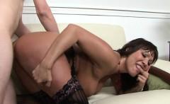 Deepthroating milf fingers her mans asshole