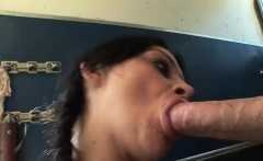 voluptuous brunette harlot rides a fat rod