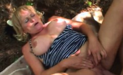 Busty Granny Stally Gets Cunt Banged In Woods