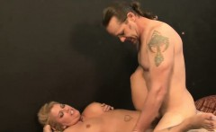 Busty blonde rides on a big dong