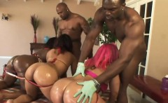 Raunchy orgy session with horny ebony sluts