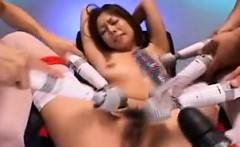 Helpless Oriental babe with big hooters enjoys a frenzy of