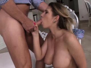 Brunette cutie with big tits gets smashed by a massive boner