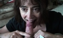 Mouth of Natalie 50 filled with my cum