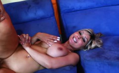 Big breasted blonde MILF sits on a hard cock