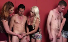 CFNM babes wanking group of cocks