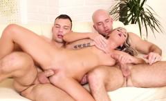Bisexual jock sucks cock before anal in trio