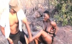 Nipple torment, spanking and rough blowjob with African slut