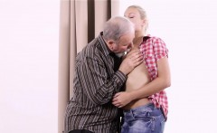 perverted young sweetie gets her pussy slammed by old man