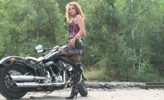 naughty brunette loves her boyfriends new ride