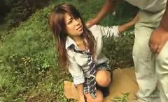 Asian babe give a hot outdoor blowjob