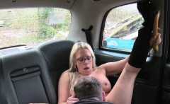 Fat guy gets fuck in female fake taxi