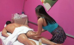 Asian Masseuse Cockriding On Massage Table