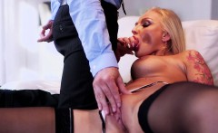 Tattooed blonde cougar Kayla Green has her ample breasts