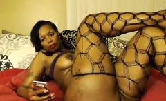 classy ebony babe with huge ass fucks in sexy lingerie