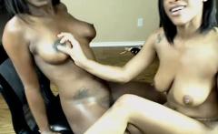 Lesbian Ebony Rides Blondes Strapon