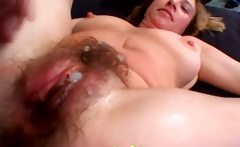 Hairy pussy cum sprayed