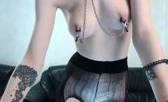 Hot brunette fishnet lingerie tease and masturbate