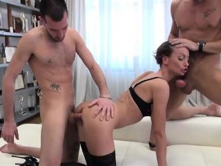 Tight babe Hazel Drew anal threesome sex with 2 horny men