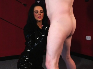 Dominating milf tugging cock in cfnm action