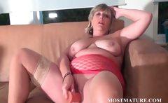 BBW blonde dildo fucks her mature cunt