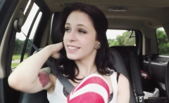 College teen bangs in car pov