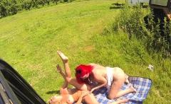 Female Fake Taxi Redhead takes Big Tits Blonde