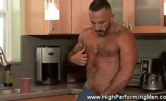 Amateur bear masturbating in kitchen and wants ass