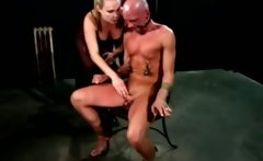 Harmony slapping around her slave while hes bound