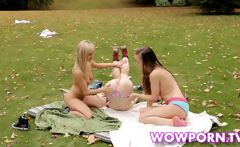 Lesbian teens playing erotic games in the park