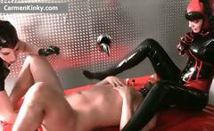 Dirty Carmen in hot latex stuffing guy