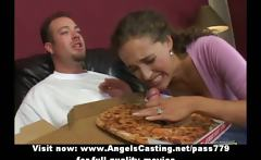 Lovely bored brunette does blowjob for pizza guy with pizza