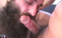 Two bearded gay dudes are sucking hard