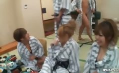 Horny group of Japanese men abusing