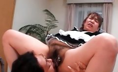 Slutty asian mature maiden gets hairy cunt licked