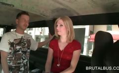 Sweet blonde cutie seduced in the sex bus