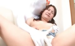 Cute asian girl gets hairy snatch teased thru undies