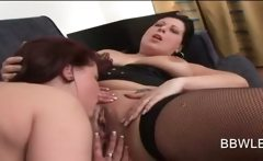 Lusty lesbo pussy licked and fingered in BBW video
