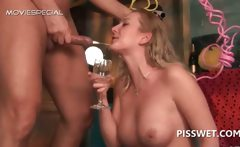 Excited slut fucking hardcore and drinking piss