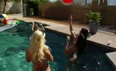 Great group bottom fun by the pool