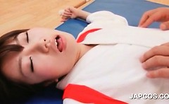 Excited japanese beauty gets her little tits played with