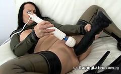 Dirty whore goes crazy masturbating