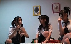 Asian teen schoolgirls playing sex games in college room
