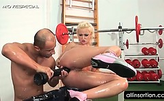 blonde hooker takes huge dildo and cock in ass