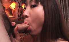 Asian blowjob and titjob with turned on nympho mom