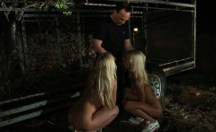 Caged blonde slaves released for painful penalty
