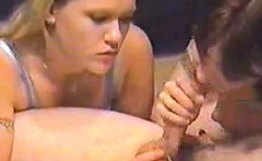 Two Dirty Chicks Sucking On Some Cock