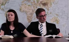 Mormon amateur gives her boyfriend a handjob in office