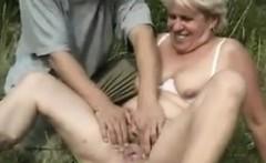 Blonde Grandma Being Fucked Outside