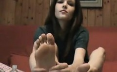 European Girl Shows Her Beautiful Feet